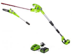 Greenworks PSPH40B210 - Sierra de arco inalámbrica de 8 pulgadas y 40 V con accesorio para recortadora de setos, batería de 2 Ah y cargador incluidos